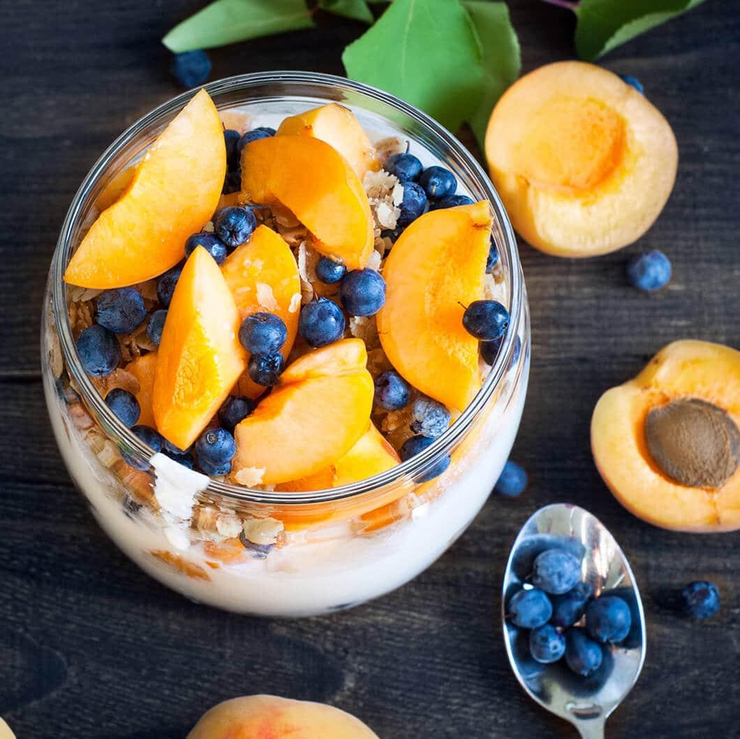 yogurt and peaches